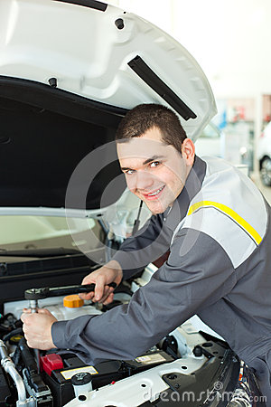 Free Auto Mechanic With Wrench Royalty Free Stock Photo - 48422425