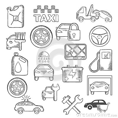 auto mechaniker und service ikonen vektor abbildung. Black Bedroom Furniture Sets. Home Design Ideas