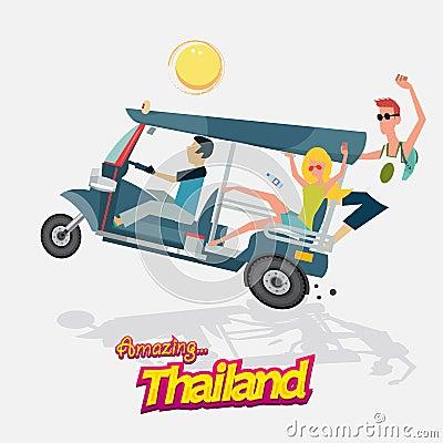 auto mit drei r dern mit tourismus tuk tuk bangkok. Black Bedroom Furniture Sets. Home Design Ideas
