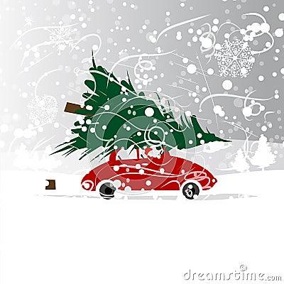auto mit weihnachtsbaum winterblizzard f r ihr vektor. Black Bedroom Furniture Sets. Home Design Ideas