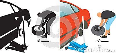 Auto repair. changing punctured auto tire