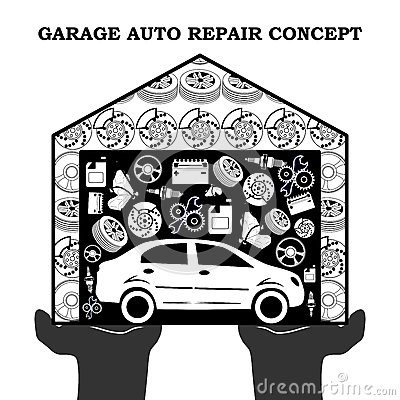 Free Auto Repair Services Black Concept With Car Icons And Spare Parts In The Garage In The Stretched Out Palms Isolated On White Royalty Free Stock Photos - 82313338