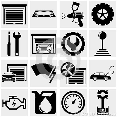 Auto repair vector icons set on gray.