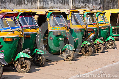 Auto rickshaw taxis in Agra, India. Editorial Photography