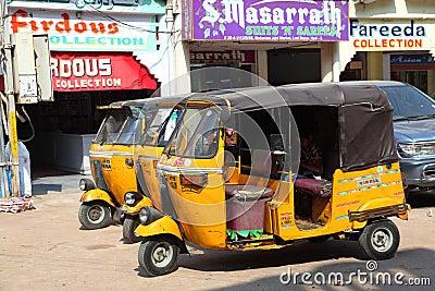 Auto rickshaws waiting for passengers Editorial Stock Photo