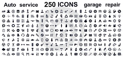 Auto service, car garage 250 isolated icons set - vector Vector Illustration