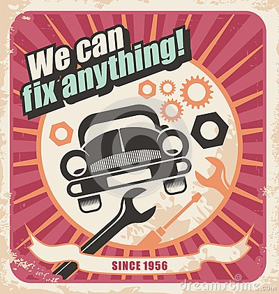 Free Auto Service Retro Poster Royalty Free Stock Images - 28807149