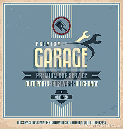 Free Auto Service Vintage Poster Design Royalty Free Stock Photography - 32830127