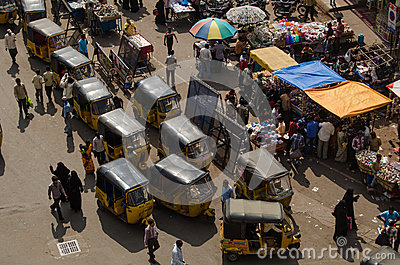 Auto Taxis from above, Hyderabad Editorial Photo