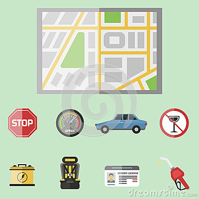 Auto transport motorist icon symbol vehicle equipment service car driver tools vector illustration. Vector Illustration
