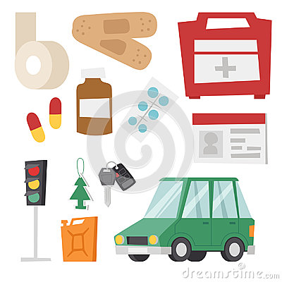 Auto transport motorist icon symbol vehicle equipment service car driver tools vector illustration. Vector Illustration