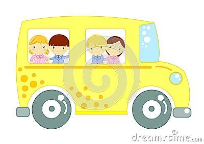 Autobús escolar con los niños en el fondo blanco