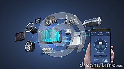 Autodiagnose, Managementanwendung unter Verwendung des Mobil-, intelligenten Telefons, elektronisch, Lithium-Ionen-Batterie-Echoa stock video footage