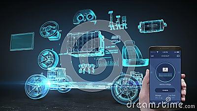 Autodiagnosenbatterie-Managementanwendung unter Verwendung des Mobil-, intelligenten Telefons, elektronisch, Lithium-Ionen-Batter lizenzfreie abbildung