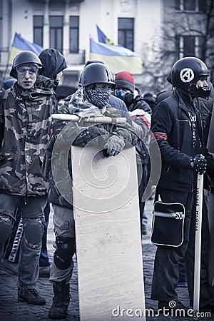 Autodifesa di Evromaydan in Ucraina Fotografia Editoriale