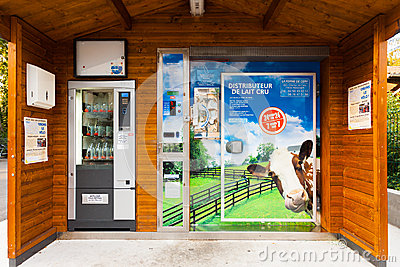 Automated Milk Vending Machine France Editorial Image