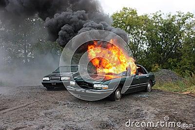 An automobile fire
