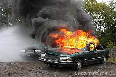 An automobile fire