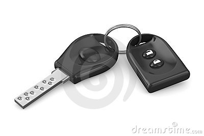Automobile key and alarm system on white
