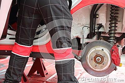 Automobile mechanic do diagnostics of car