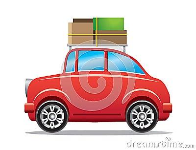 Automobile rossa con la cremagliera di bagagli