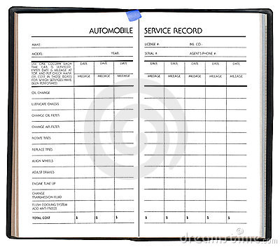 Automobile service record, isolated on white,