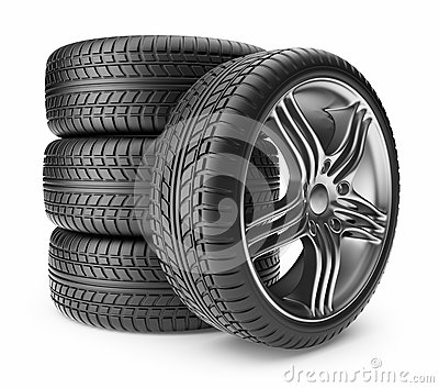 Automobile tire. Wheel 3D, Icon