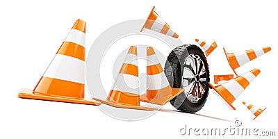 Automobile wheel has collided cones