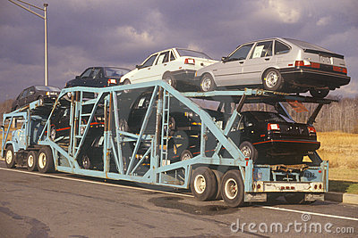 Automobiles on transport truck Editorial Photo