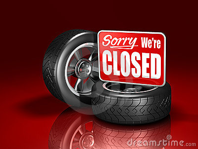 Automotive Wheels and Closed Sign
