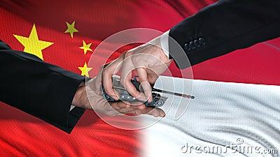Autoridades da China e da Indonésia trocam tanques por dinheiro, bandeiras de defesa contra antecedentes ilustração stock
