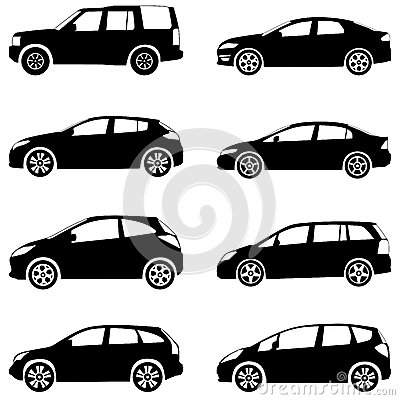 Autos silhouettieren Satz