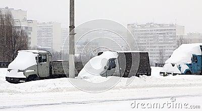 The autos under snow