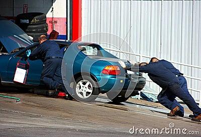 Autoshop and broken car