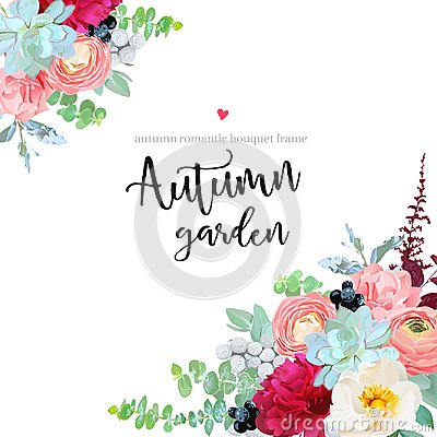 Free Autumn Angle Floral Frame With Mixed Bouquets Royalty Free Stock Photos - 104109318