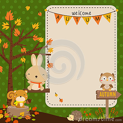 Free Autumn Animal Card Royalty Free Stock Photos - 49742958