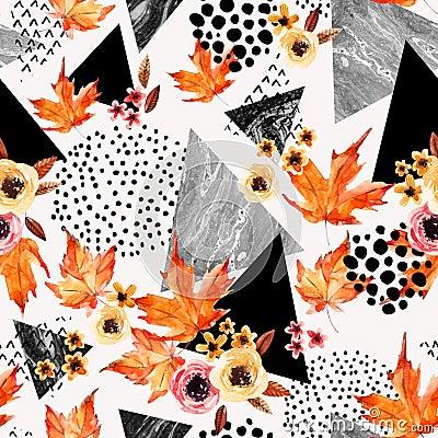 Free Autumn Background: Falling Leaves, Flowers, Geometrical Elements. Stock Photo - 100638680