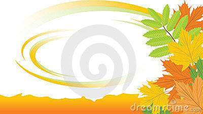 Autumn background with maple and ash leaves
