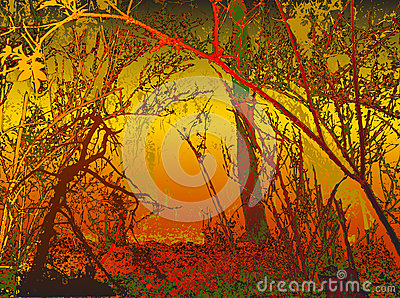 Autumn background with silhouettes of trees