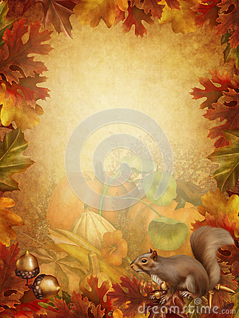 Autumn background with a squirrel