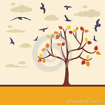 Autumn background with tree leaves and birds