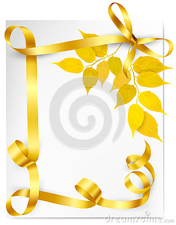 Autumn background with yellow leaves and gold ribb