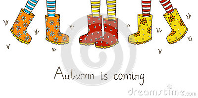 Autumn banner with rubber boots Vector Illustration