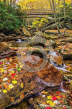 Free Autumn, Boone Fork Bridge, Blue Ridge Parkway Stock Photos - 43729503