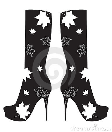 Autumn boots with leaves. Vector illustration.