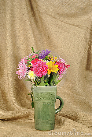 The autumn bouquet of wild and cultivated flowers