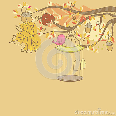 Autumn card with Bird