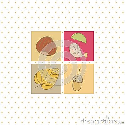 Autumn card with four symbols