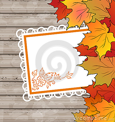 Autumn card with leaves maple, wooden texture