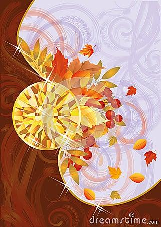 Autumn card with topaz